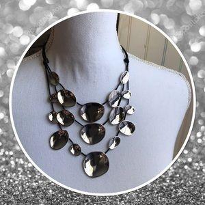 Chico's Coco Clean Silver Bib Necklace
